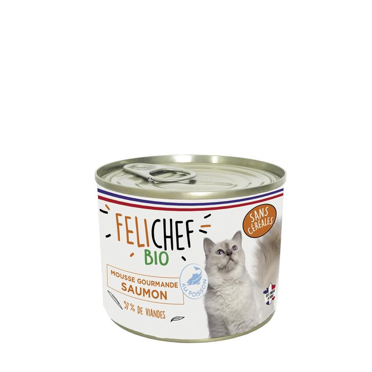 Boîte Chat - Felichef Mousse Gourmande saumon sans céréales  200g 612450