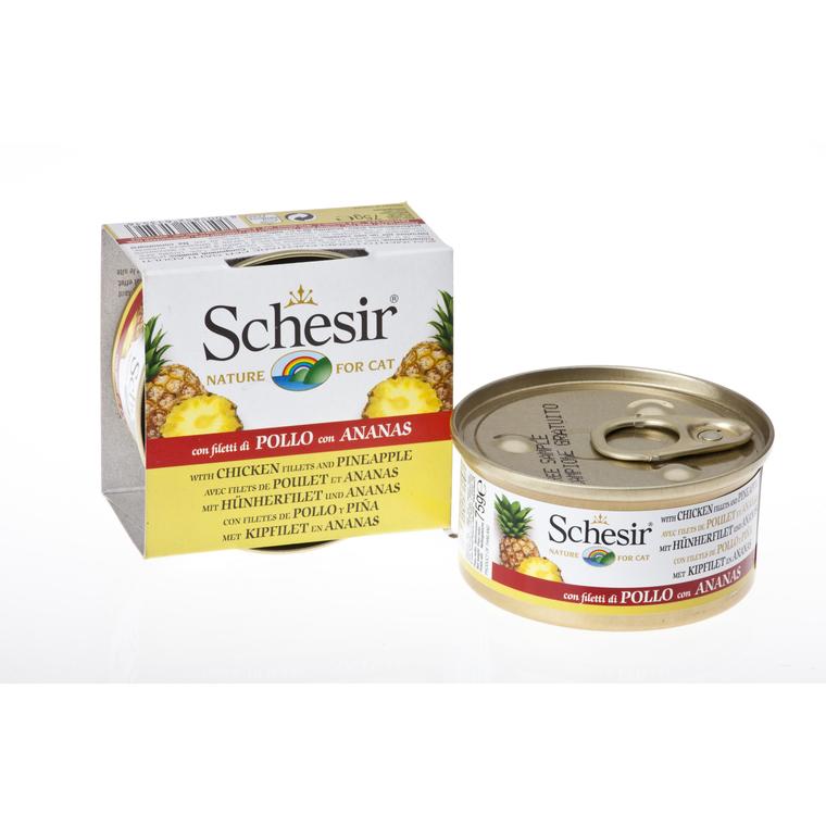 Boîte Chat- Schesir® Pâtée aux Filets de Poulet avec morceau d'Ananas - 75g 633325