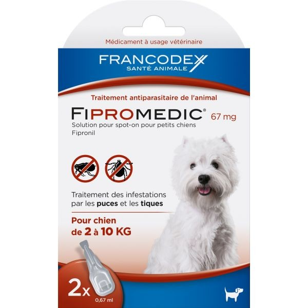 Pipettes antiparasitaires chien Fipromedic 2-10kg x2 637985