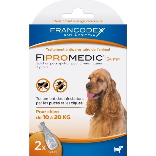 Pipettes antiparasitaires chien Fipromedic 10-20kg x2 637987