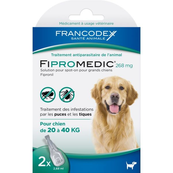 Pipettes antiparasitaires chien Fipromedic 20-40kg x2 637989