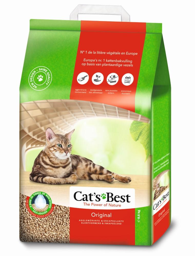 Litière végétale agglomérante pour chat Cat's Best Original 20L - 8,6kg 641326