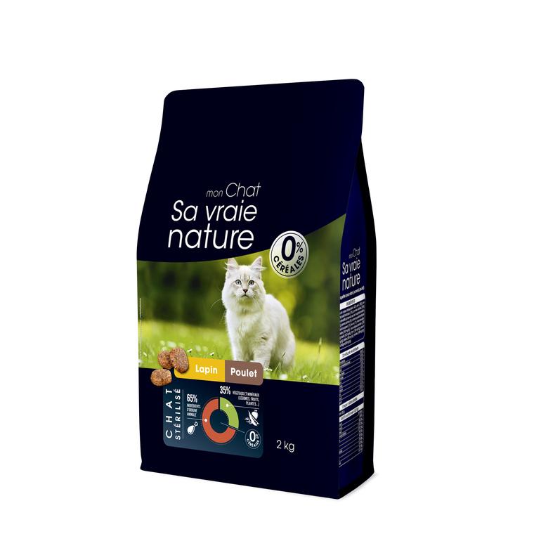 Croquettes Chat - Sa Vraie Nature adulte stérilisé lapin/poulet 2kg 678036