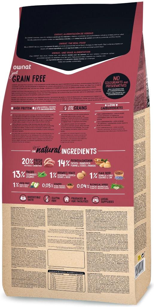 Croquettes Chien - Ownat Just Grain Free Adulte sans céréales Canard - 14kg 678606