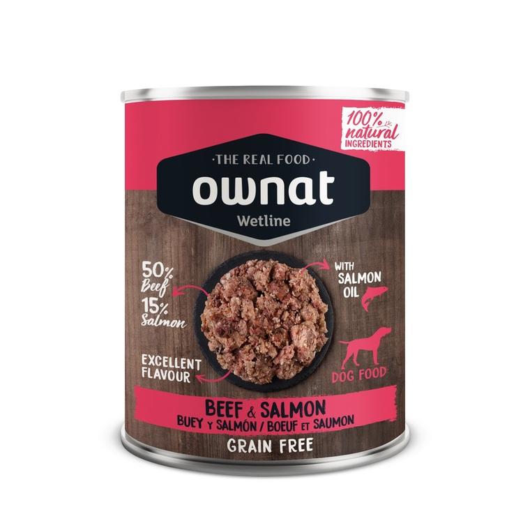 Boîte Chien - Ownat Wetline Sans céréales - Bœuf et Saumon - 400g 686588