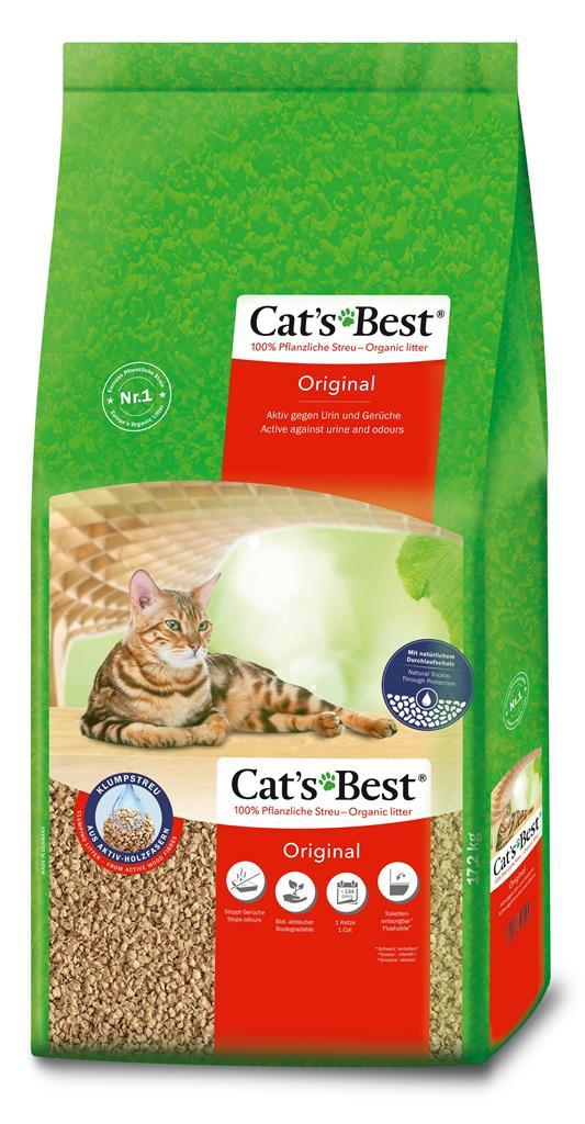 Litière végétale agglomérante pour chat Cat's Best Original 40L - 17,2kg