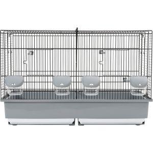Cage d'élevage pour oiseaux 67 noire et grise
