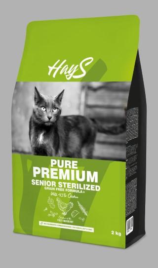 Croquettes chat stérilisé senior - Hays Pure Premium poulet - 2kg 740328