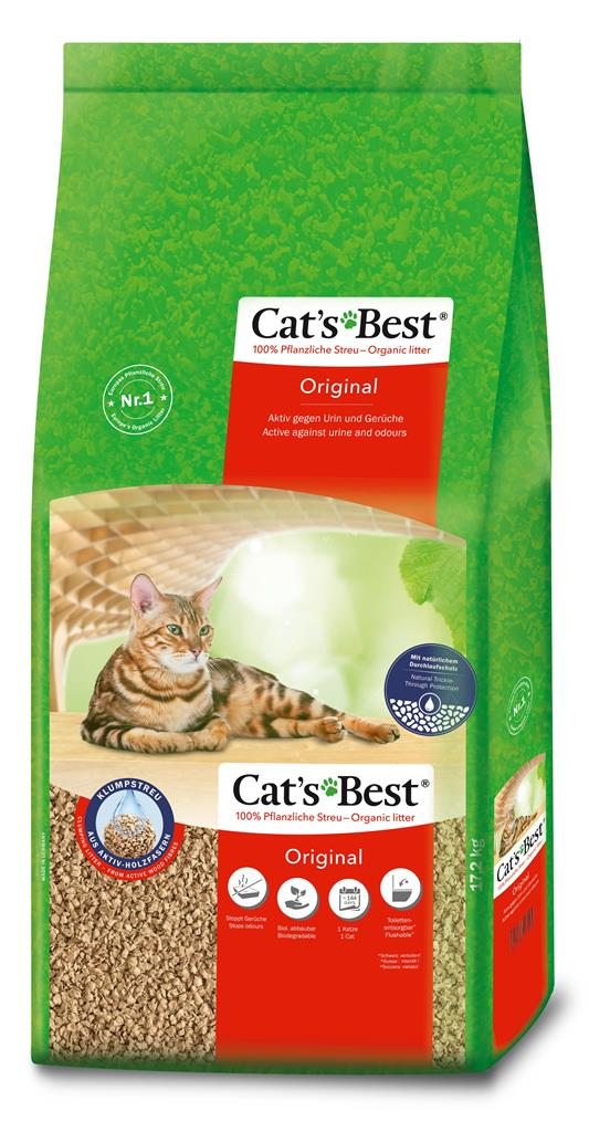 Litière végétale agglomérante pour chat Cat's Best Original 40L - 17,2kg 73784
