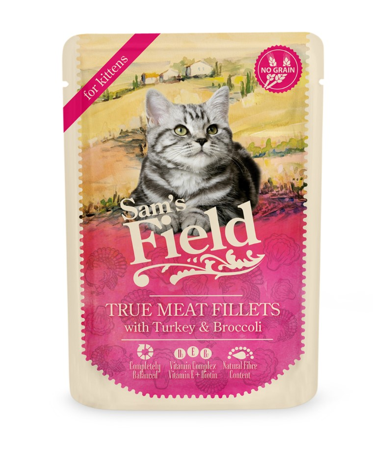 Patée pour chatons en sachet - Sam's Field Dinde & Brocoli 85 g 739105