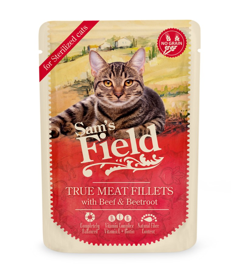 Patée pour chats stérilisés en sachet - Sam's Field Boeuf & Betterave 85 g 739106