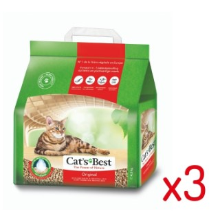 Lot de 3 - Litière végétale agglomérante pour chat Cat's Best Original 10L L000002