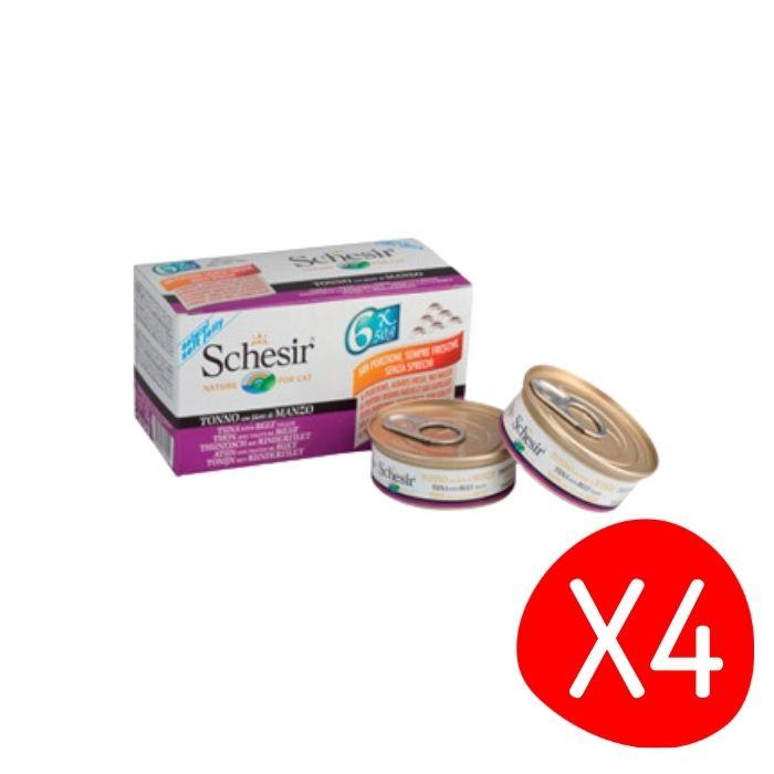 Boîte Chat -  Lot de 4 Schesir Thon Boeuf + bouillon Pack de 6 x 50g L200032