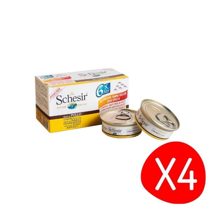 Boîte Chat -  Lot de 4 Schesir Poulet + bouillon Pack de 6 x 50g L200033