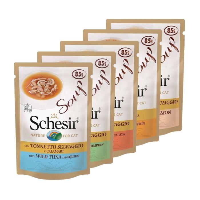 Soupe chat Schesir - Saveurs multiples - Lot de 5 x 85g L200064